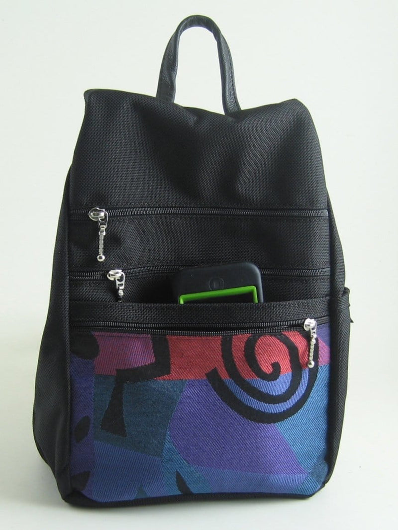B967W Small Side Entry Backpack with Fabric Accent Pocket, Extra Zip Pocket