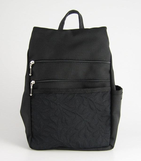 B967-BL Sm Side Entry Backpack - Black Nylon with Fabric Accent