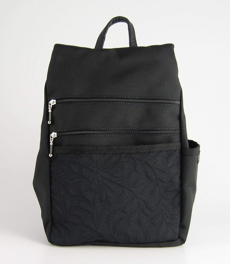 Sm Side Entry Backpack with padded straps - B967PS-BL Black with Fabric Accent