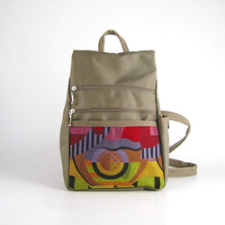 B967-KH Small Side Entry Backpack in Khaki nylon with Fabric Accent Pocket