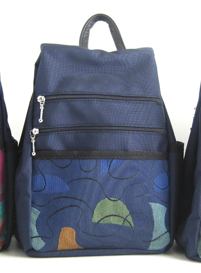 B967-NV SMALL Side Entry Backpack in Navy Nylon with Fabric Accent Pocket
