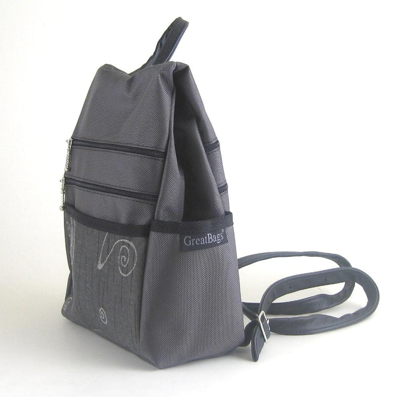 B967-GR Small Side Entry Backpack - Gray Nylon with Fabric Accent Pocket