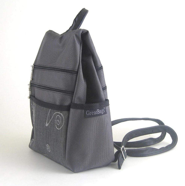 B968-GR Medium Side Entry Backpack in Gray Nylon with Fabric Accent Pocket