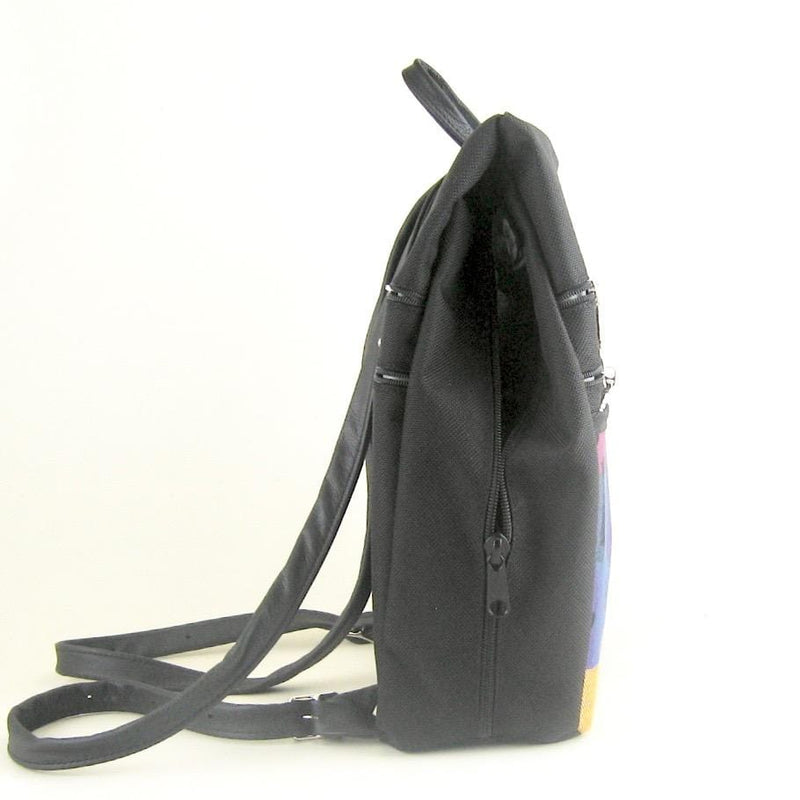 Vintage Fabric Medium Side Entry Backpack in Black Nylon - B968-BL