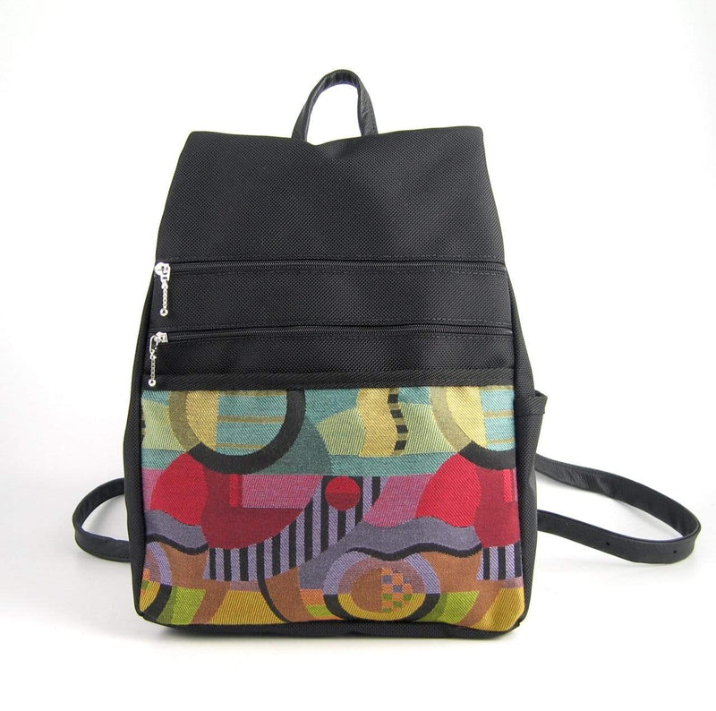 B968-BL Medium Side Entry Backpack in Black Nylon with Fabric Accent Pocket