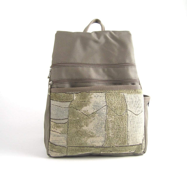 B968-KH Medium Side Entry Backpack in Khaki Beige Nylon with Fabric Accent Pocket