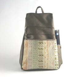 B969L-KH  Large Side Entry Backpack in Khaki Nylon with Leather Accent pocket