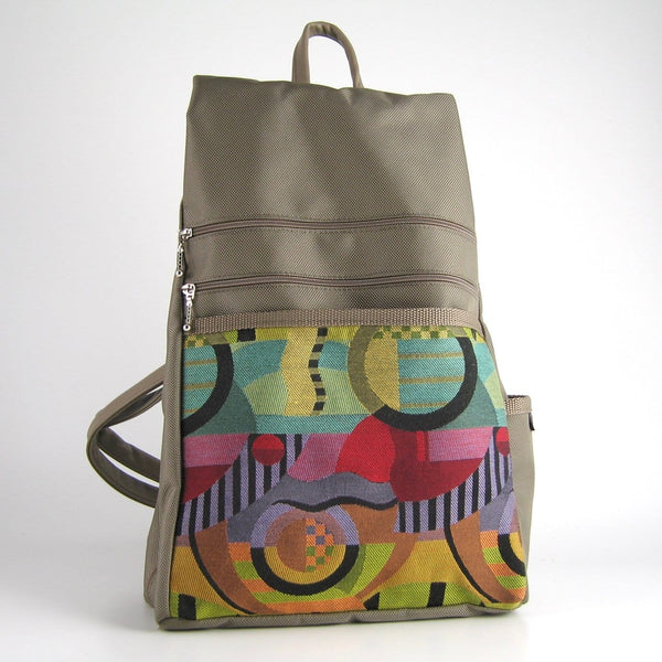 B969-KH  Large Side Entry Backpack in Khaki Nylon with Fabric Accent pocket