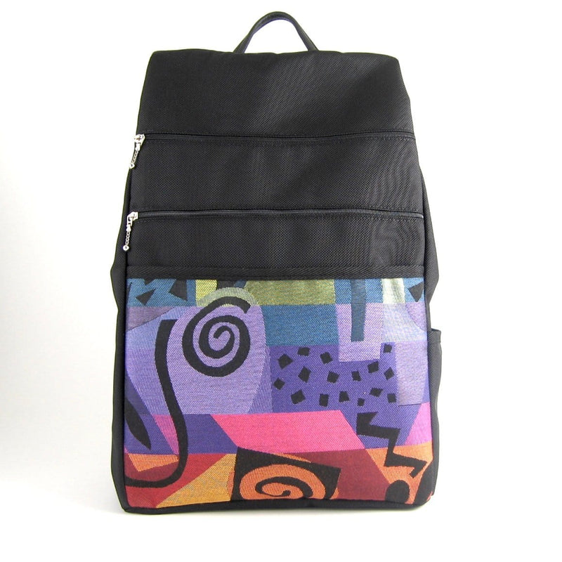 B970-BL Extra Large Side Entry Backpack in Black Nylon with Fabric Accent pocket