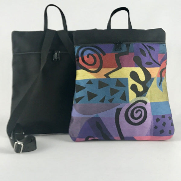 New! Morgan iPad Backpack in Black Nylon with Fabric Accent #MRG