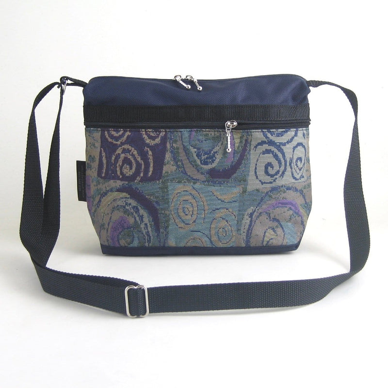 222L Organizer Purse in Navy Nylon with fabric accent pockets