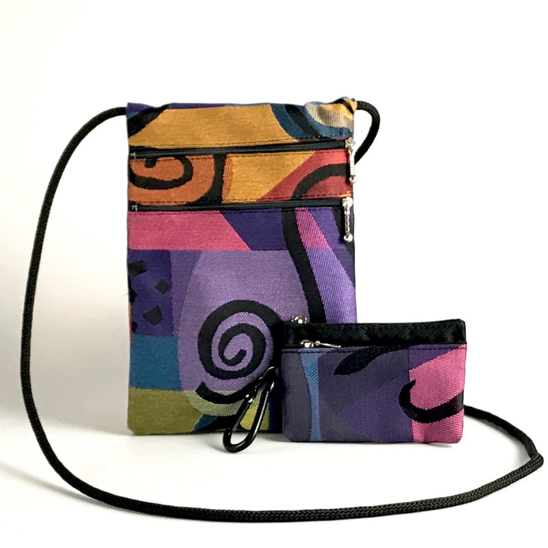 Gift Set - N-S Two zipper Travel Purse T8 with matching 2 zipper pouch
