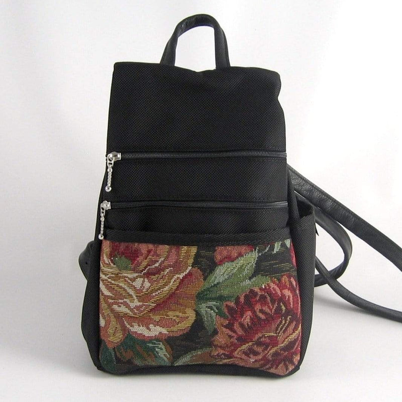 Vintage Fabrics Sm Side Entry Backpack -  B967-BL with Black Nylon