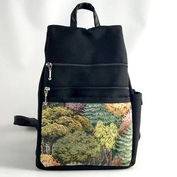 Sm Side Entry Backpack -  Vintage Fabrics-B967-BL with Black Nylon