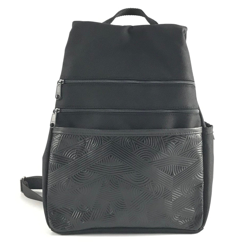 B968LP  Medium Side Entry Backpack with padded straps in Black Nylon and Leather Accent Pocket