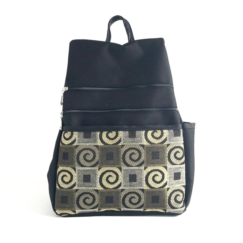 B967 BL Vintage Fabrics - Sm Side Entry Backpack - Black Nylon