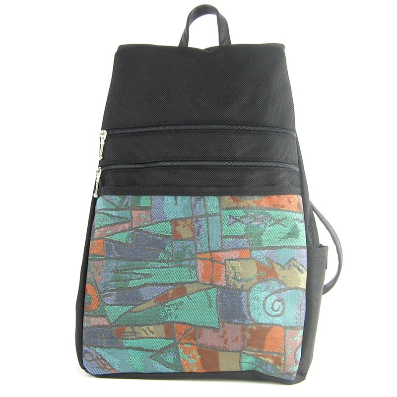 B969-BL Large Side Entry Backpack in Black Nylon with Fabric Accent