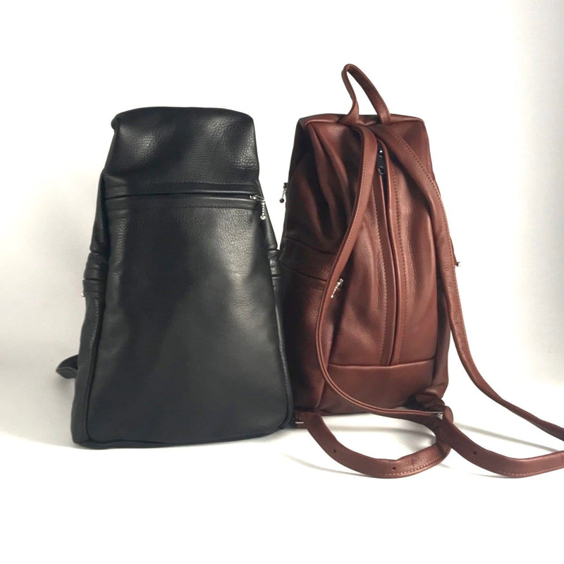Large Back Entry Leather Backpack LBPT2 in solid colors