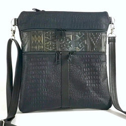 Navy lizard embossed cowhide crossbody purse Large Maggie with purple aztec accent strip  from greatbags.com