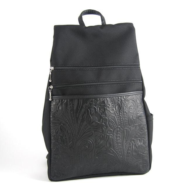 B969LP Lg Side Entry Backpack with padded straps in Black Nylon and Leather Accent Pocket