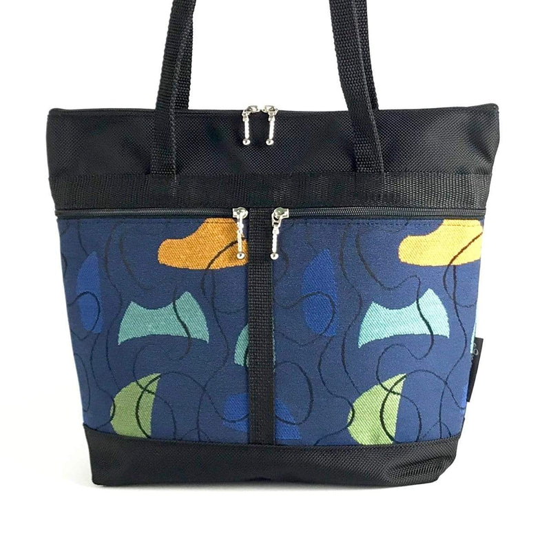 S: Purse sized Tote in Black with Fabric Pockets