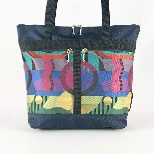 L: Large Tote in Navy with Fabric Pockets