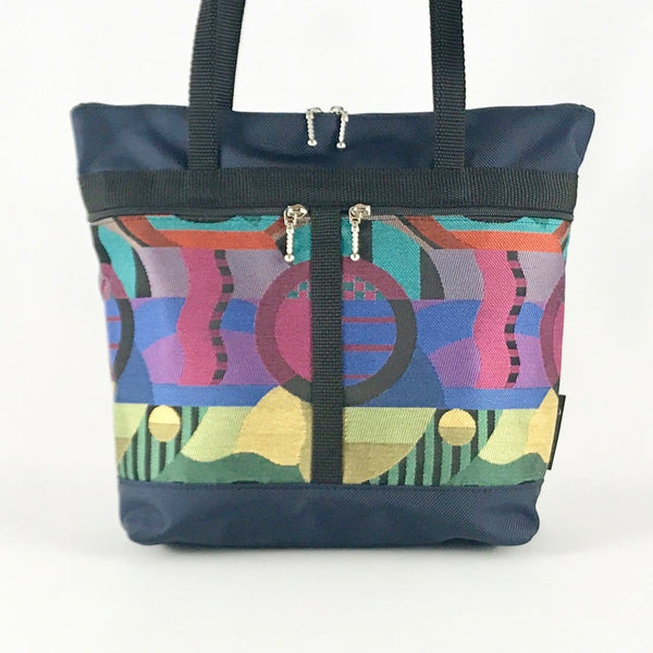 S: Purse sized Tote in Navy with Fabric Pockets