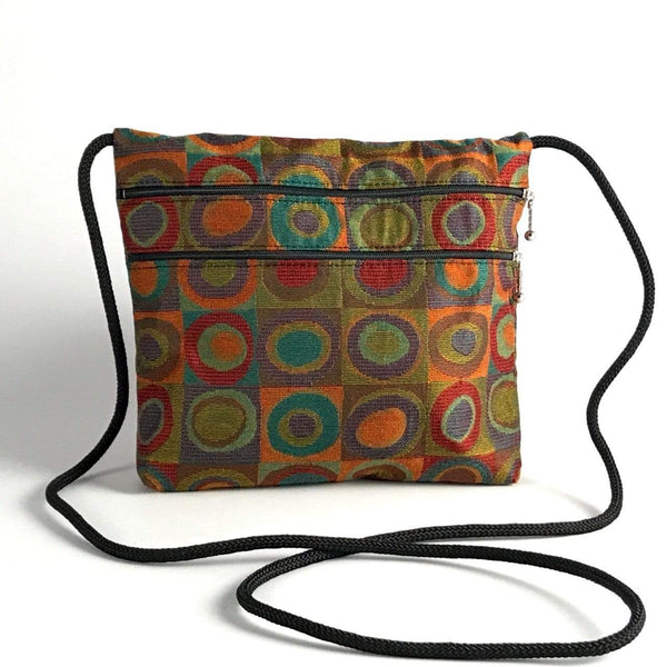 Vintage Fabric Wide 2 Zipper Fabric Travel Bag T9