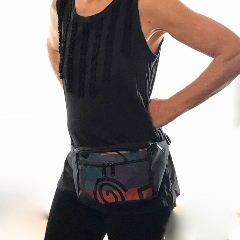 Fabric Large Fanny pack with Tapestry Accent Pocket- TLFP