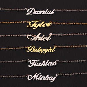 Custom Name Pendant Necklace Stainless Steel Engrave Crown Star Names Letters Necklaces
