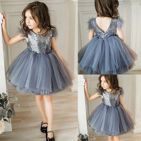 Baby Girl Princess clothes round neck sleeveless Tassel Tulle Polyester backless Sequin Party Mini Dresses