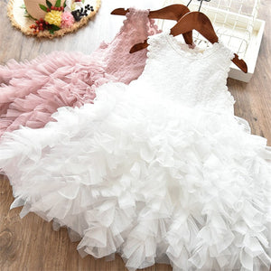 Formal Clothes Kids Fluffy Cake Smash Dress Girls Clothes Tutu Lace Outfits 3-8T