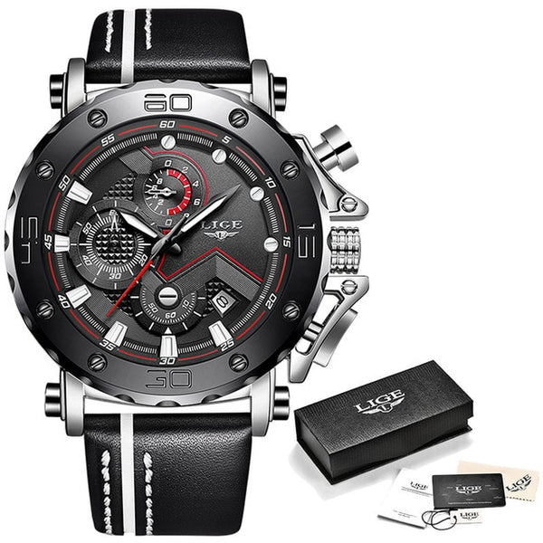 New Fashion Mens Quartz Watch Leather Waterproof Sport Chronograph
