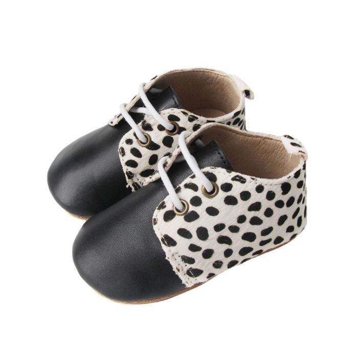 Black Toe with Animal Print Lapel Oxford Style Lace Up Boots Side View
