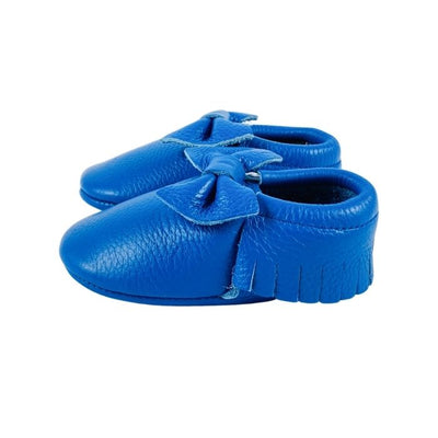 Bow Baby Soft Sole Shoes Electric blue Side View