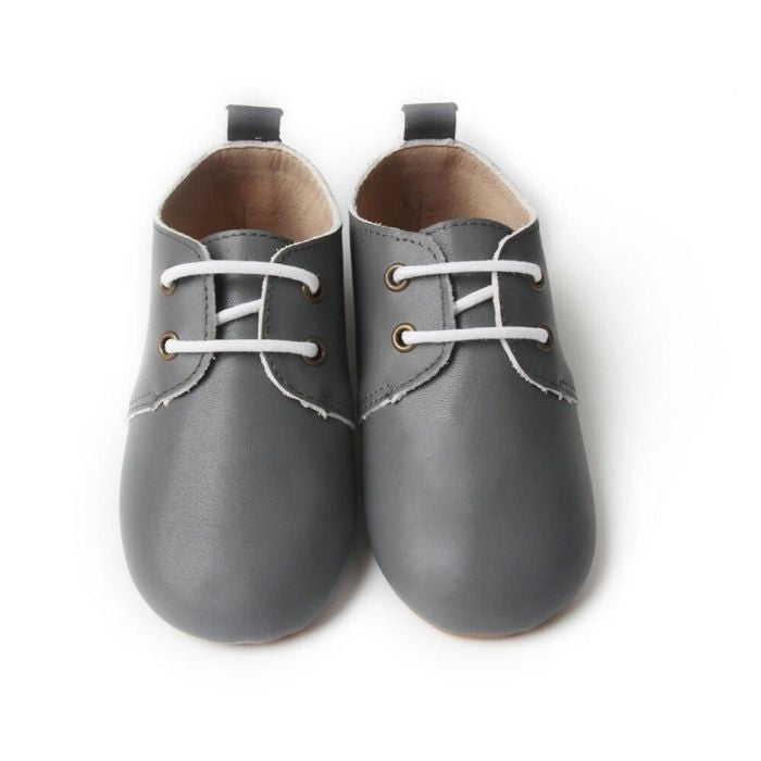 Grey Oxford Soft Sole Shoes with laces above view