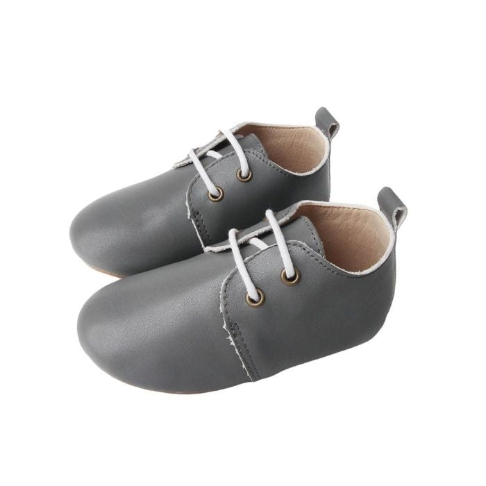 Grey Oxford Soft Sole Shoes with laces Side view