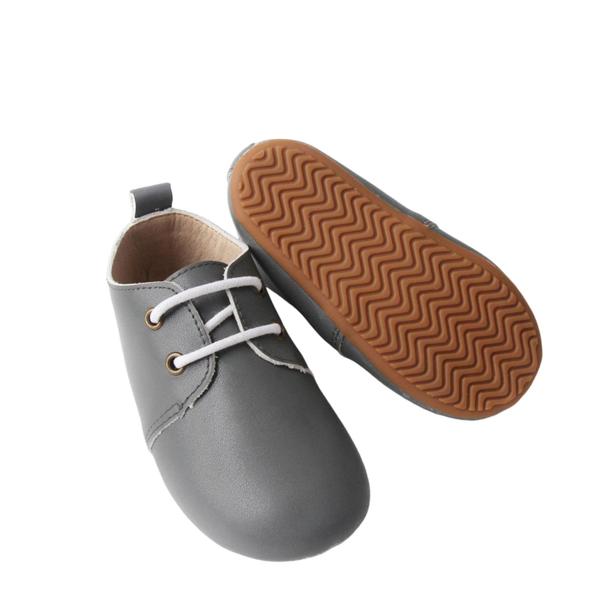 Grey Oxford Grip Sole Shoes with laces sole view