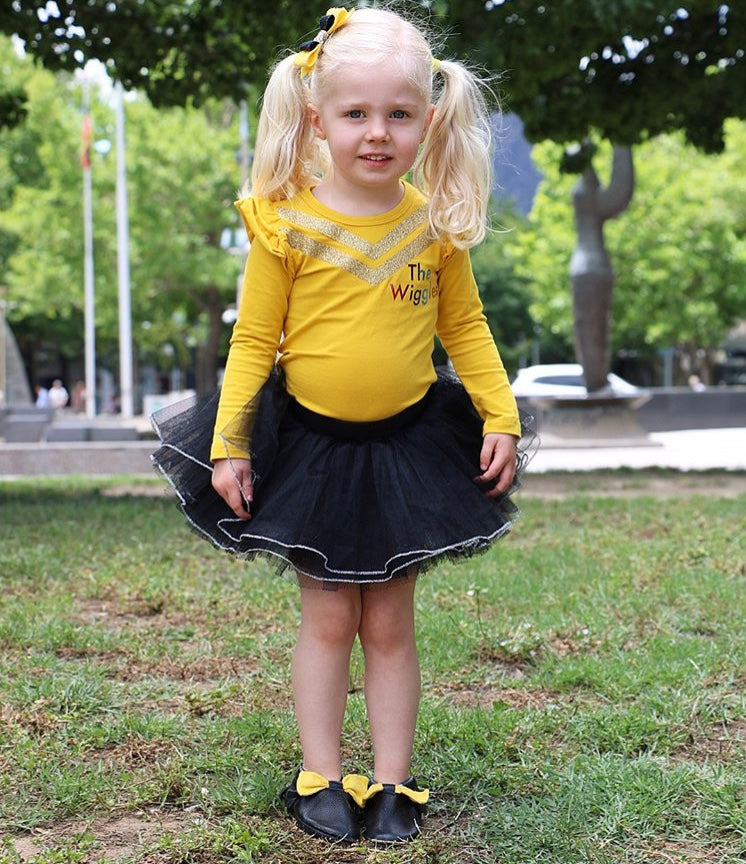 Emma Wiggle Shoes Black with Yellow Bow Side View
