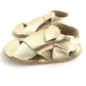 Cross Soft Sole Sandal Side View Metallic Gold