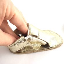 Load image into Gallery viewer, Cross Soft Sole Sandal  View side with elastic ankle Metallic Gold