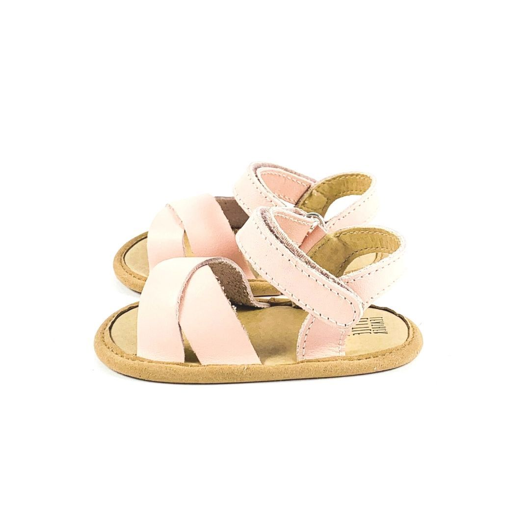 Leather Toddler Sandals Side View Pink Colour