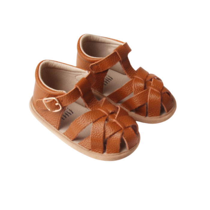Caramel Leather Baby Sandals | Grip Sole