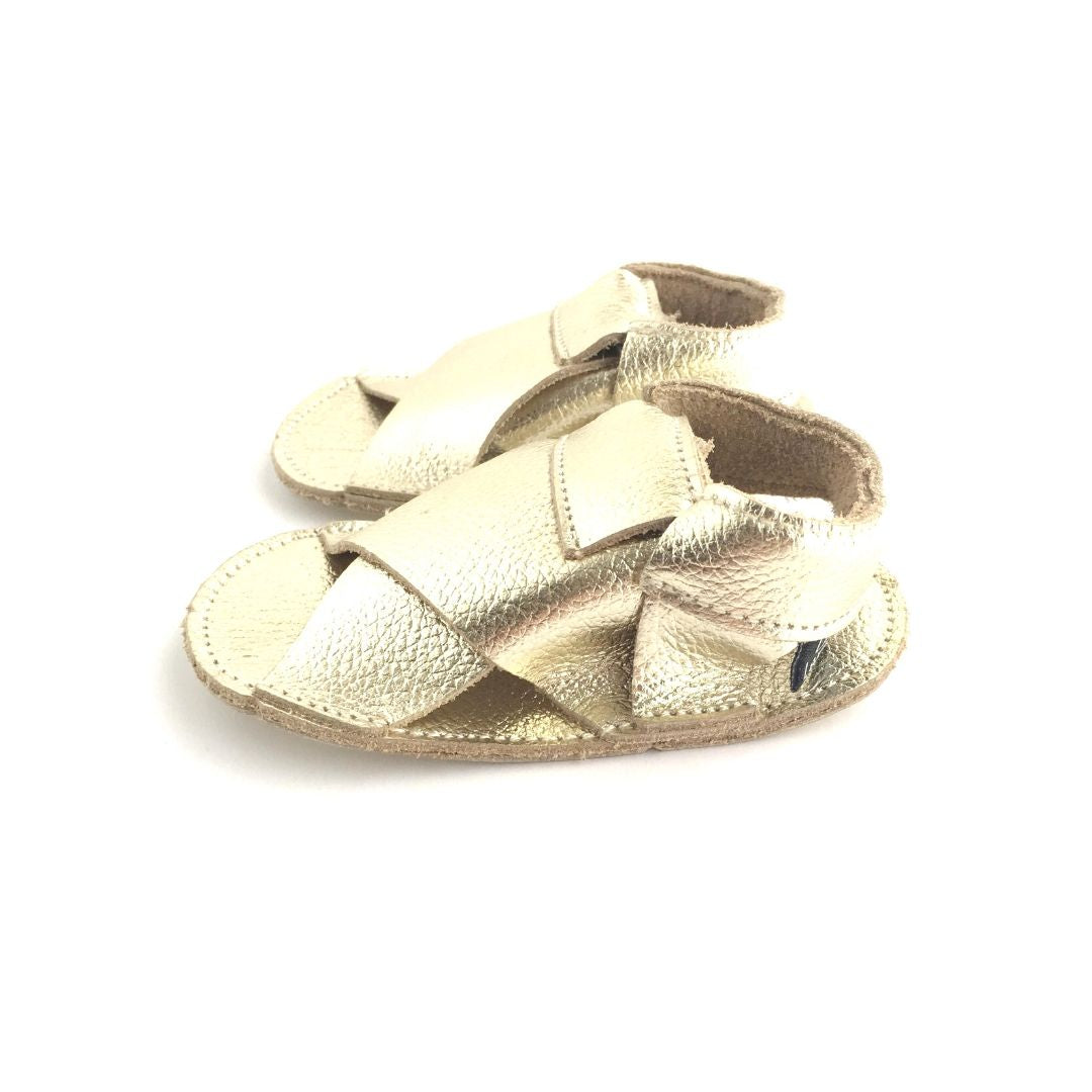 Little Leather Cross Soft Sole Sandal