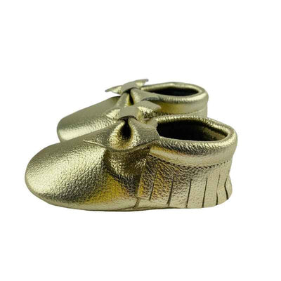 Bow Baby Soft Sole Shoes Gold Side View