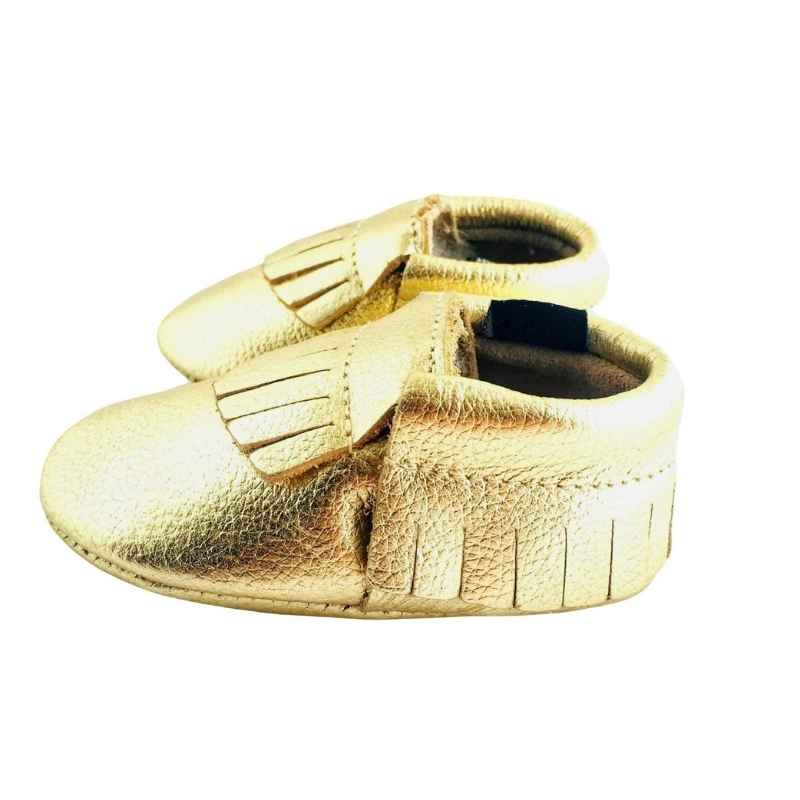 Classic Soft Sole shoes for babies in Metallic Gold Colour Side View