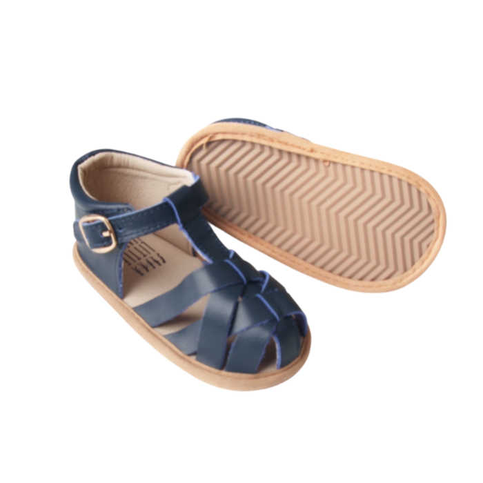 Navy Leather Baby Sandals | Grip Sole