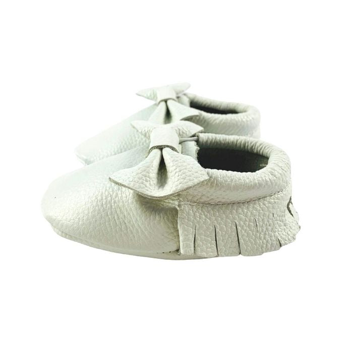 White Leather Bow Moccasin Side View