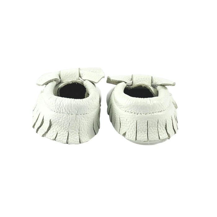 White Leather Bow Moccasin Rear View