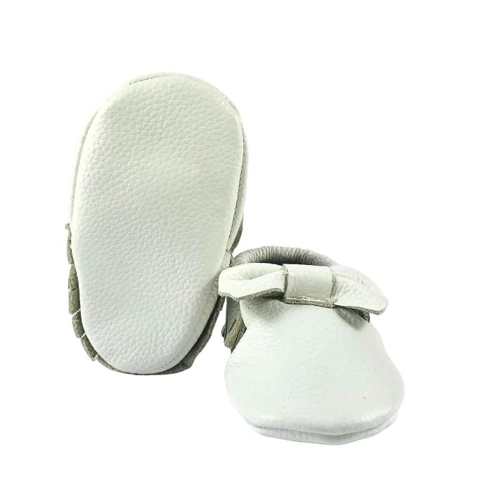 White Leather Bow Moccasin Sole View